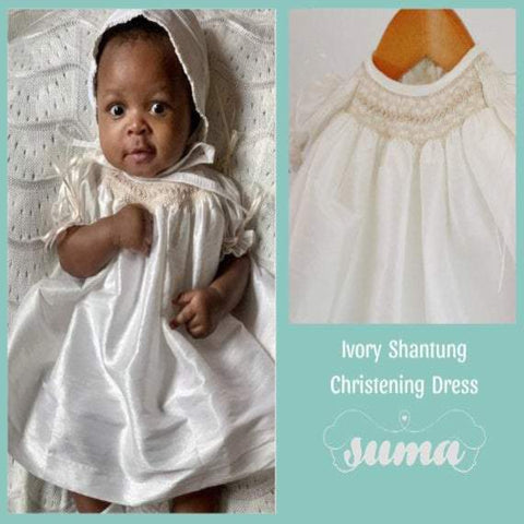 Baby Girl  Christening Dress with Bonnet  Ivory Shantung Fabric, Baptism Dress, SUMA, Free Personalization