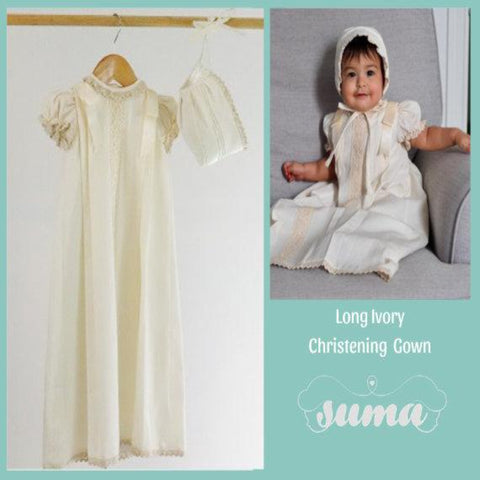 Christening Gown White - Ivory, Cotton Baptism Gown, Girls Baptism Dress, Dedication Dress,   Long Christening Gown,  Free Personalization