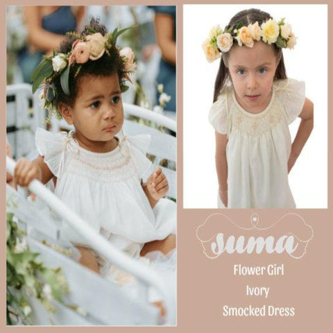 Ivory  Flower Girl Dresses Cotton  Hand Smocked