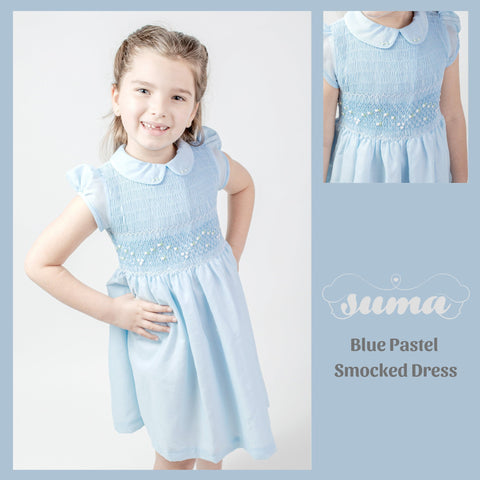 Pastel Blue Matching Sister Dresses, Flower Girl Dresses, Smocked dresses, Baby Dresses, Girl Dresses