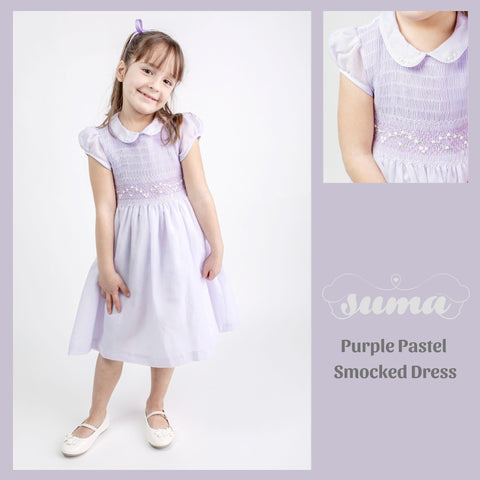 Pastel Lavender Matching Sister Dresses, Hand Smocked  Girl Dress Cotton Fabric