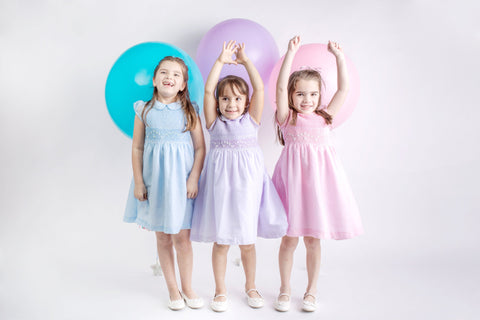 Pastel SUMA  Collection Matching Sister Dresses Cotton Fabric,   Smocked Dresses, White, Ivory, Lavander, Light Blue, Pink,