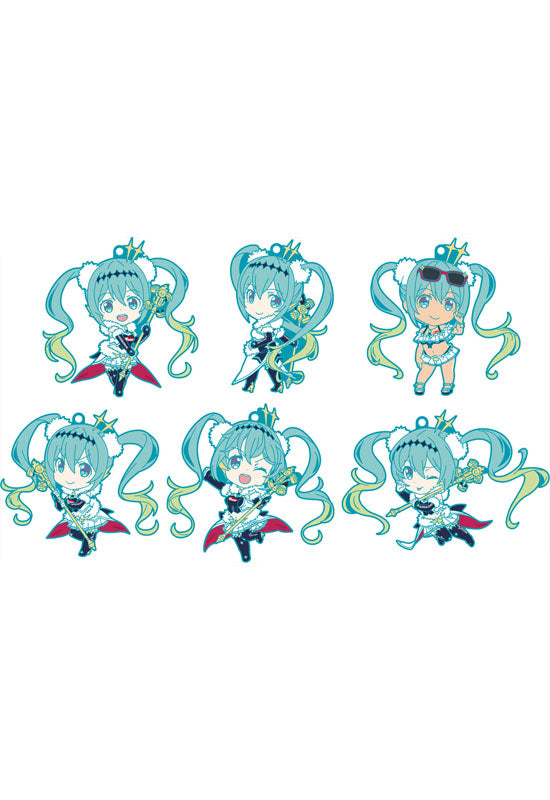 Hatsune Miku GT Project GOOD SMILE COMPANY Racing Miku 2018 Ver. Nendoroid Plus Collectible Rubber Keychains (Set of 6 Characters)