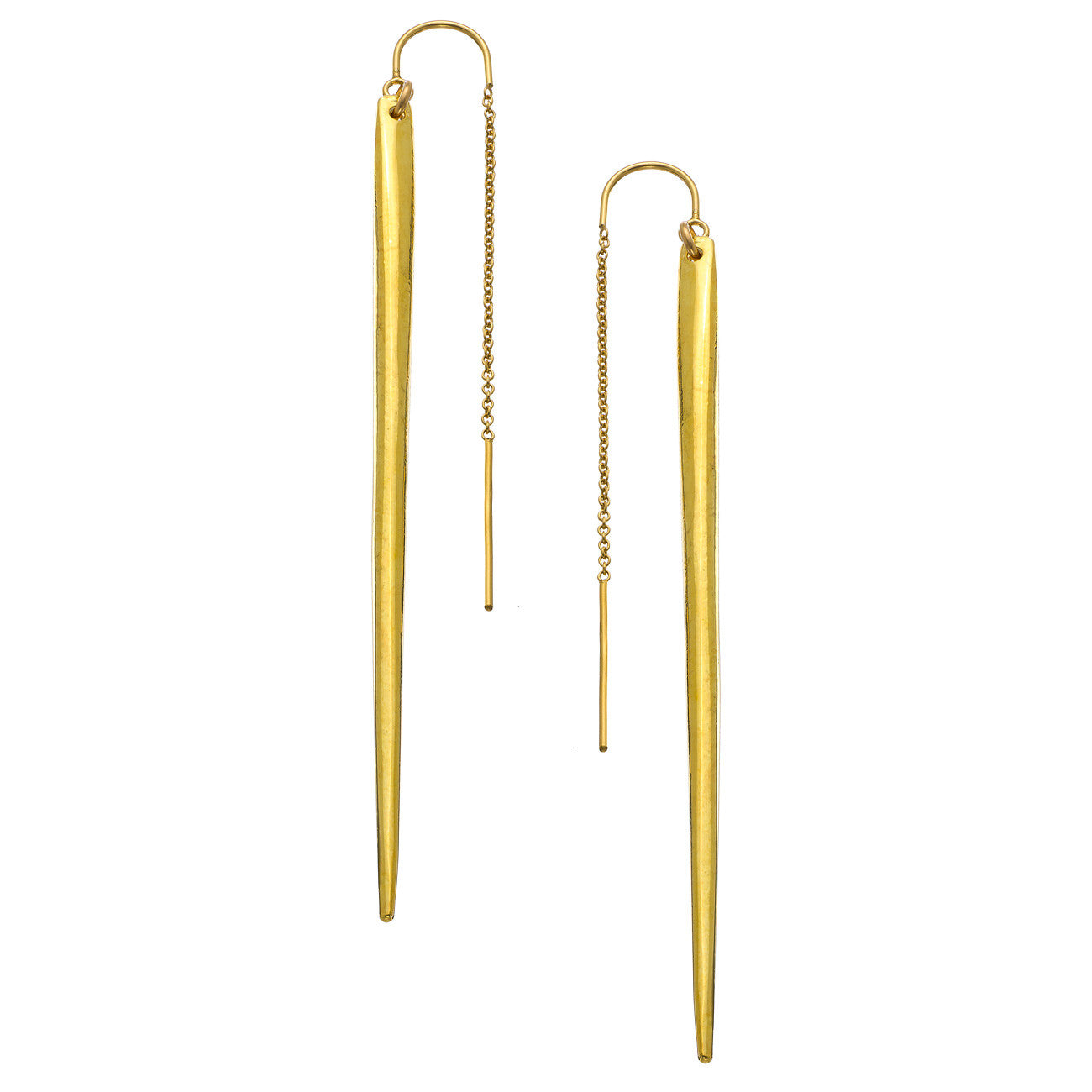6efb035e4 Gold Dagger Thread Thru Earrings - Heather Hawkins INC