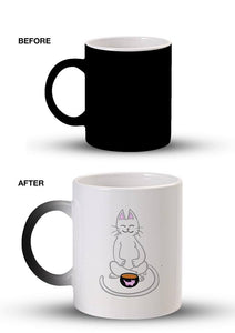 Meditating Cat Tea Art Mug