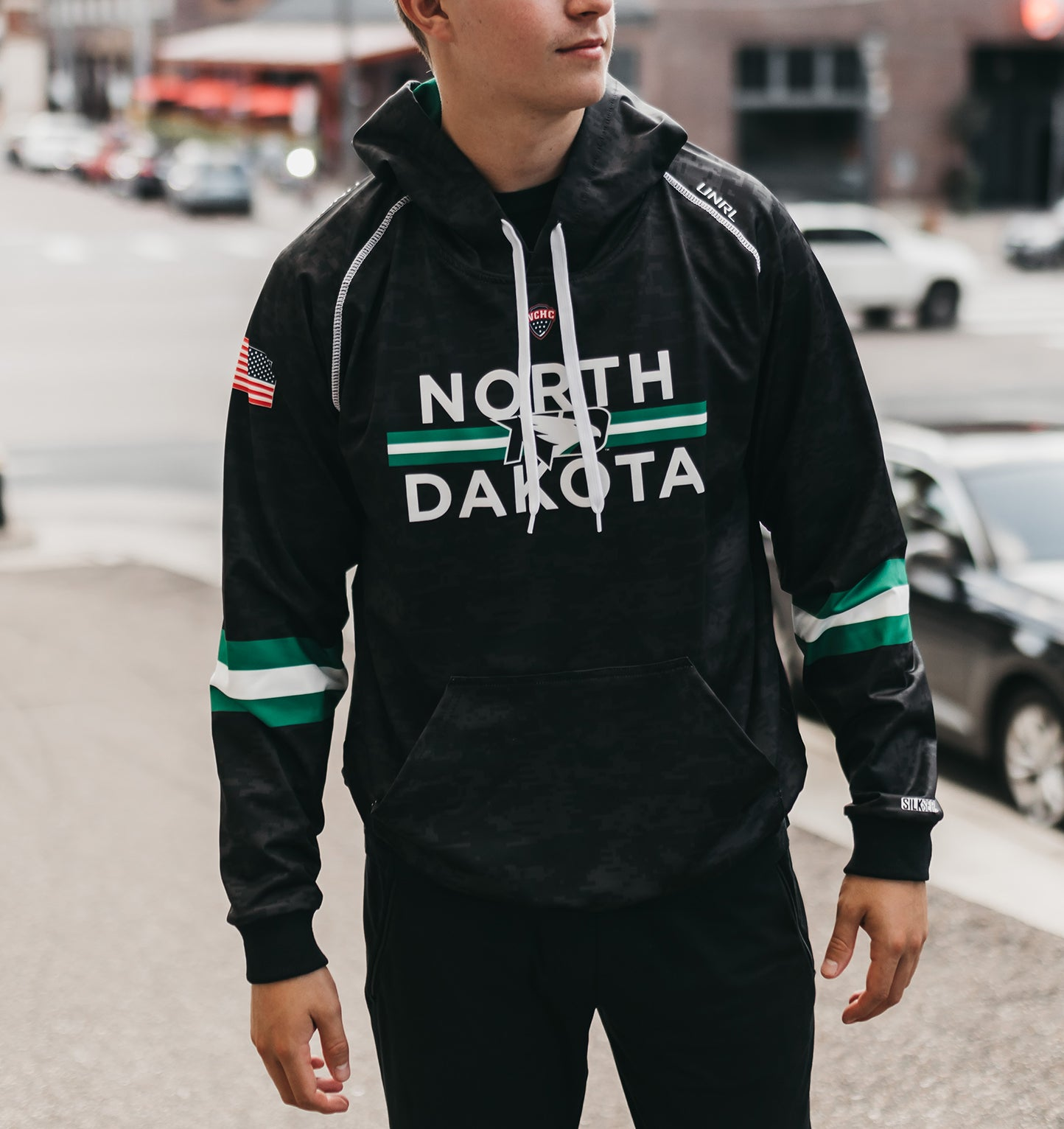 UND Hawks SilkSeries Hoodie [Digital Black]