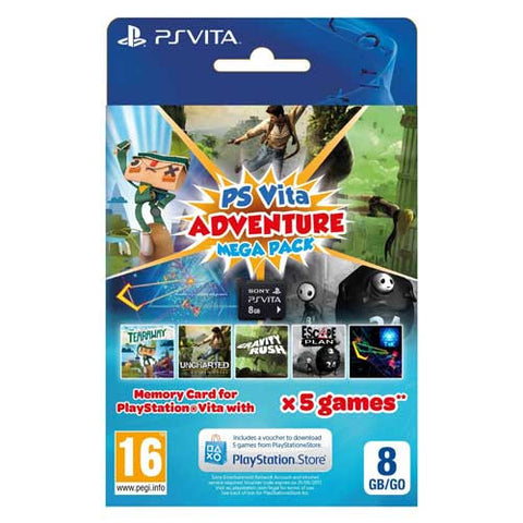 8GB PS VITA MEMORY CARD & ADVENTURE MEGA PACK VOUCHER
