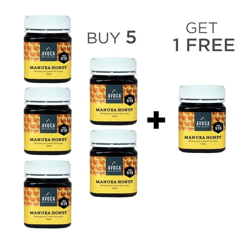 Buy 5 and get 1 FREE - Avoca Manuka Honey MG515 - 250g