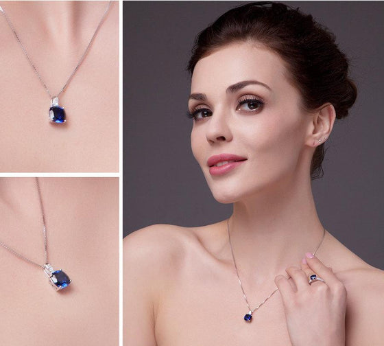 Blue Created Sapphire Pendant with 925 Sterling Silver Chain