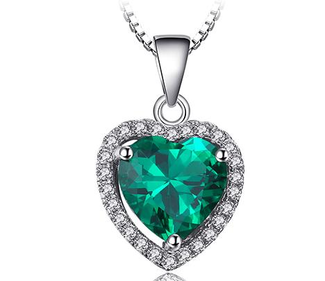 Heart Of Ocean Created Green Emerald Pendant with 925 Sterling Silver Chain