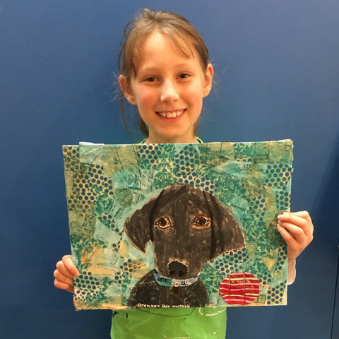 Kids Art- Mixed Media Dog