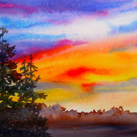 Watercolor: Autumn on FIre