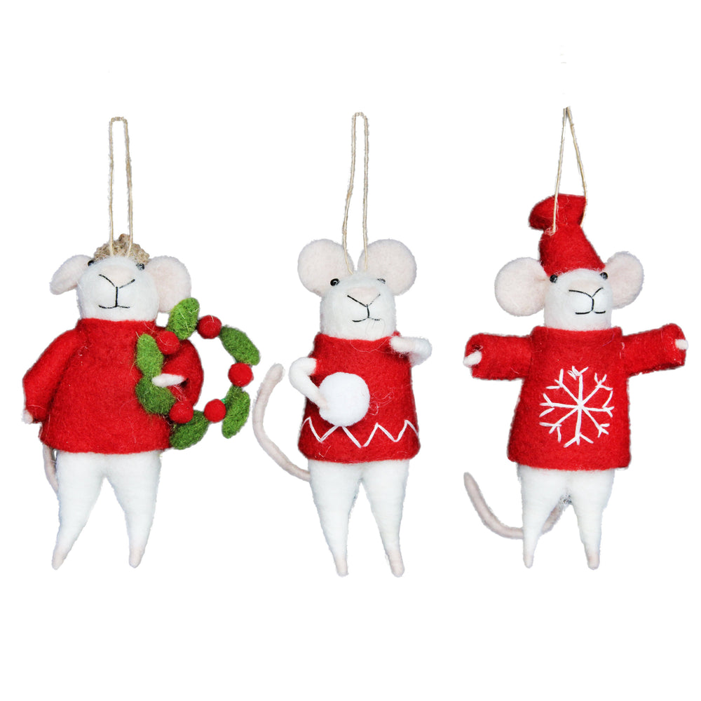 Red/White Wool Mix Mice