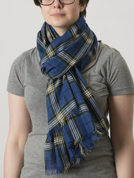 University Tartan Cotton Scarf