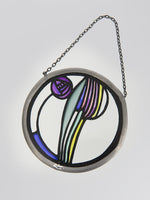 Mackintosh Rose Stained Glass Roundel - Mauve