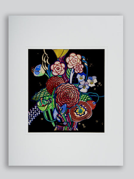 Basket of Flowers Mounted Print