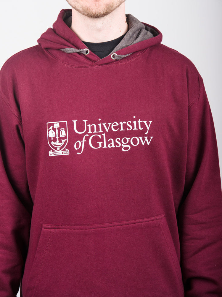 Classic Burgundy and Grey Hoodie - detail