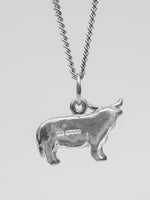 University Hallmarked Silver Highland Cow Pendant - reverse