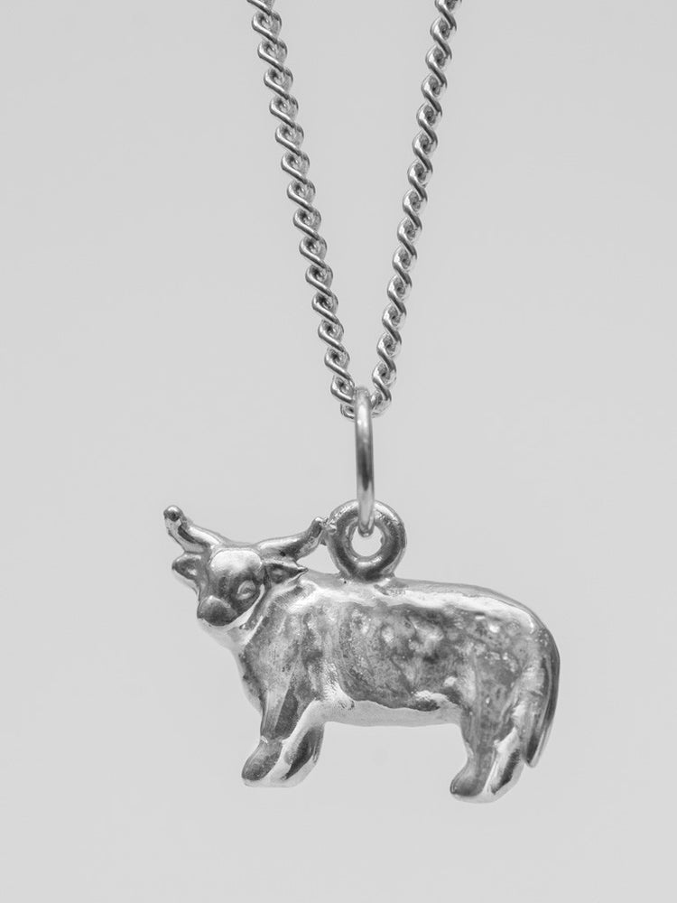 University Hallmarked Silver Highland Cow Pendant