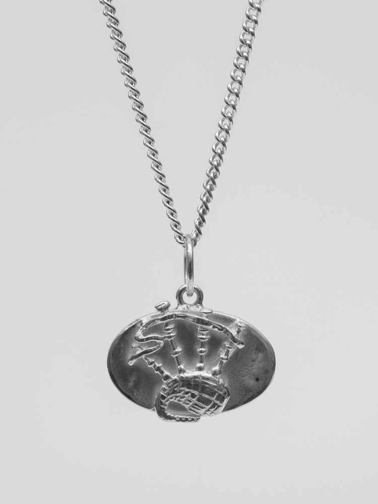 University Hallmarked Silver Bagpipes Pendant