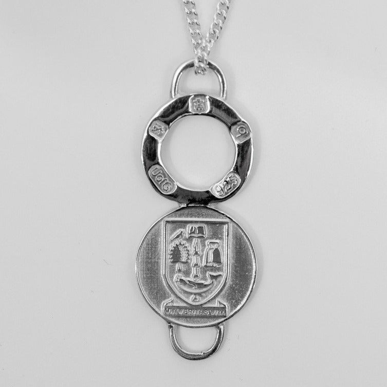 University Hallmarked Long Silver Charm Pendant