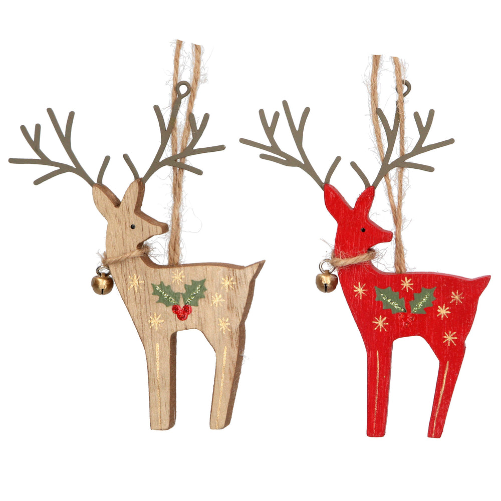 Wood Reindeer Holly Bell
