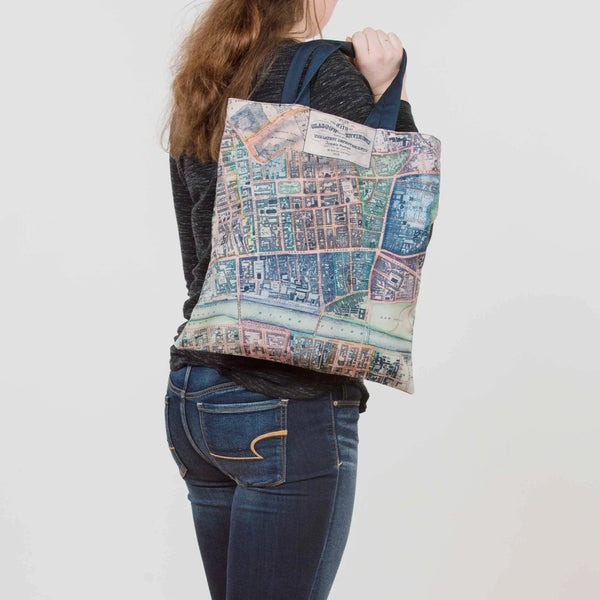Vintage Glasgow Map Tote Bag