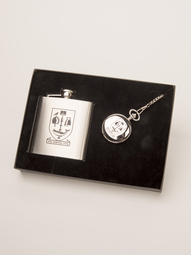 6oz Hip Flask and Pocket Watch Gift Set