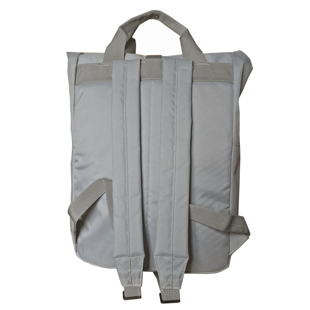 Light Grey Roll Top Backpack - reverse