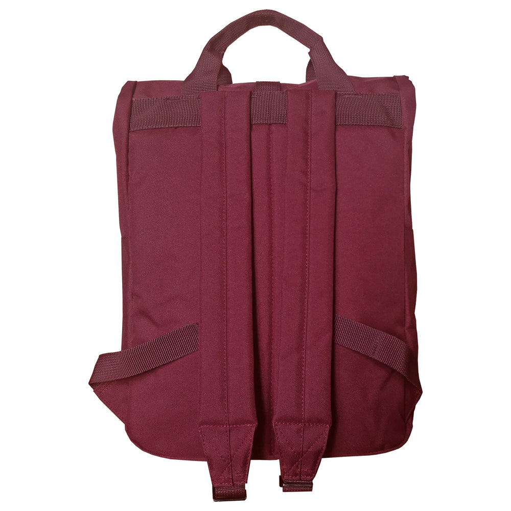 Burgundy Roll Top Backpack - reverse