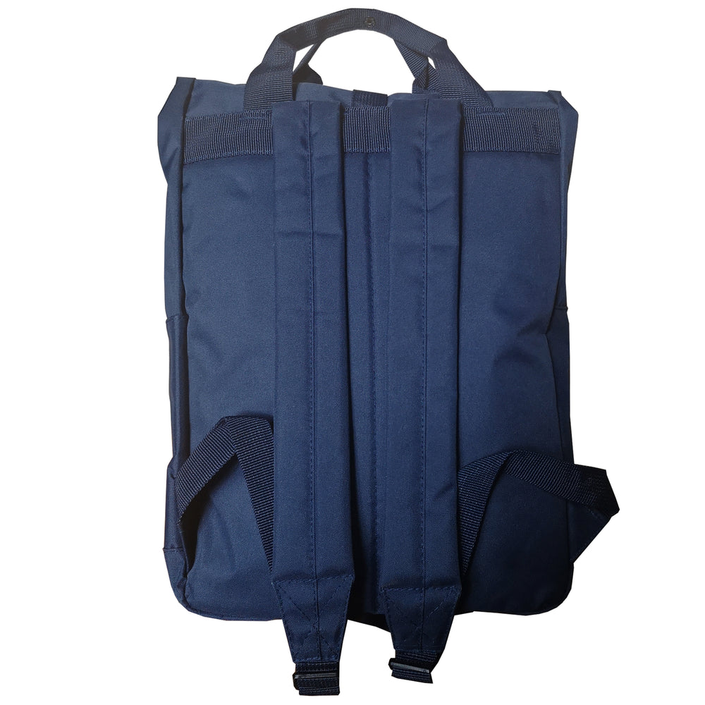 Navy Blue Roll Top Backpack - reverse