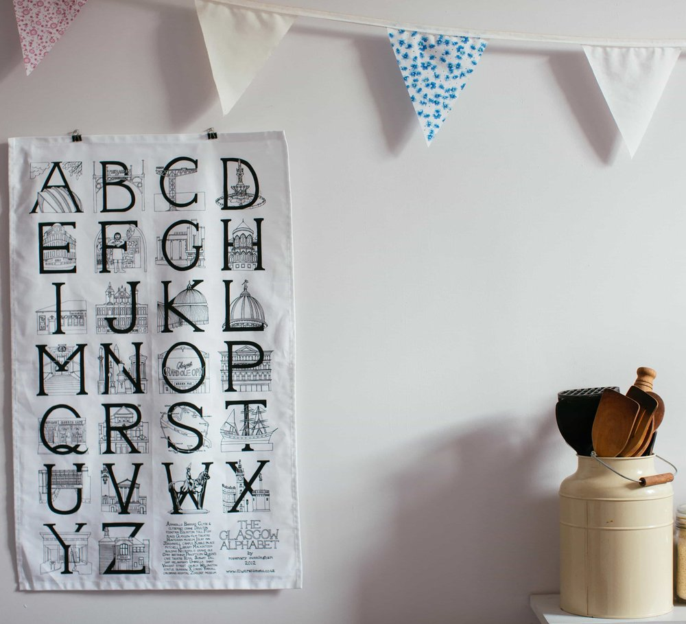 Glasgow Alphabet Teatowel by Illustration, Etc.