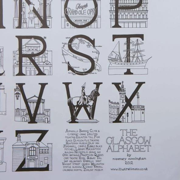 Glasgow A2 Alphabet Poster by Illustration, Etc.