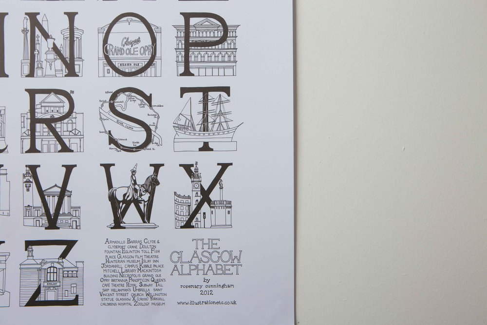 Glasgow A3 Alphabet Poster by Illustration, Etc.