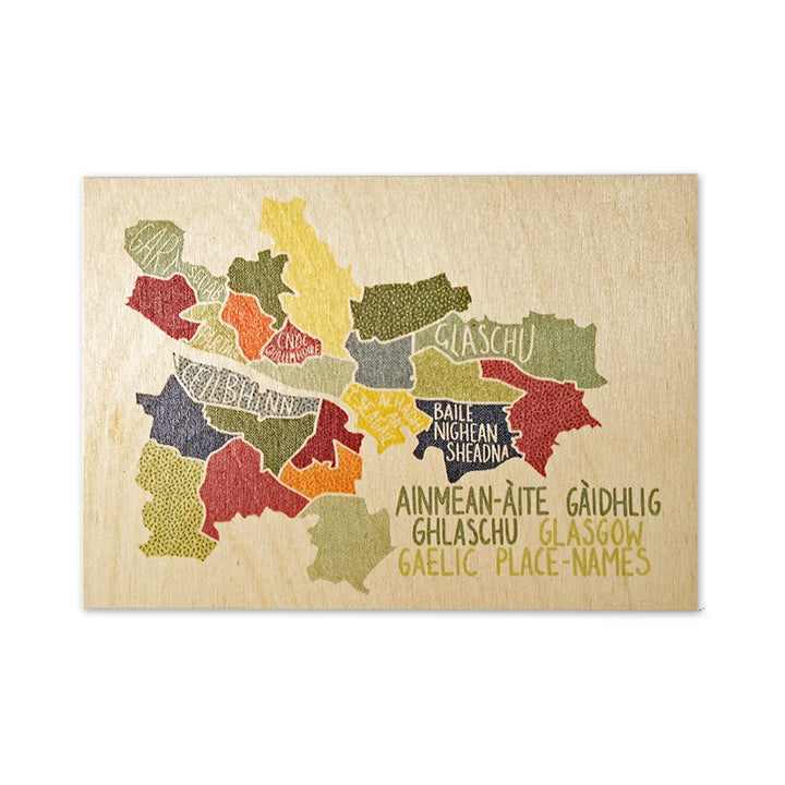 Gaelic Map Wooden Postcard