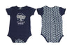 Schnooky Pie Cotton babygrow with Elephant and chevron back - NAVY