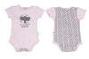 Schnooky Pie Cotton babygrow with Elephant and chevron back - pink