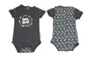 Schnooky Pie Cotton babygrow with Mint BORN LOCAL design and arrows back - GREY
