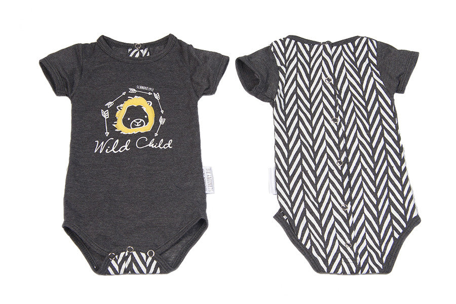 Schnooky Pie Cotton babygrow with Puffed Lion and chevron back - GREY