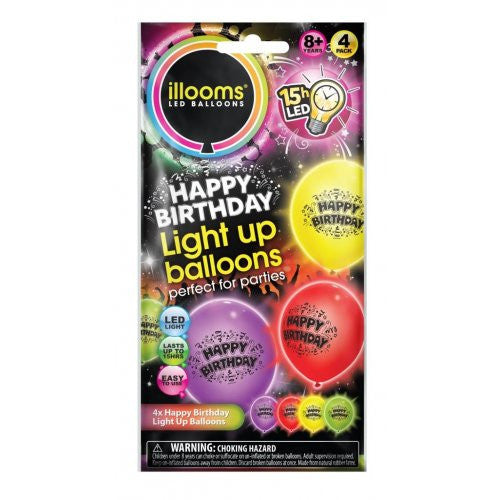 Illoom LED Light Up Balloons Happy Birthday