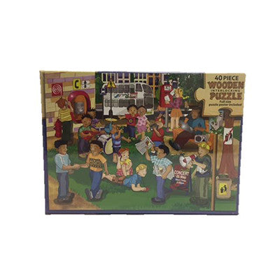 Communications 40pce Wooden Interlocking Puzzle
