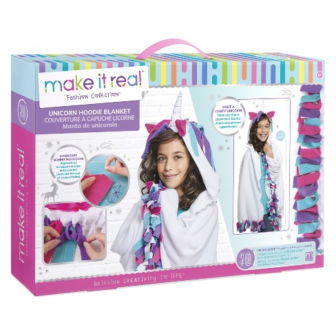 Make It Real Fashion Collection Unicorn Hoodie Blanket