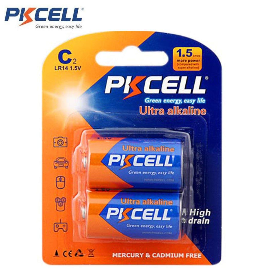 PKCELL C Ultra Alkaline Batteries (2-Pack)