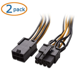 "12"" Two Pack 6 Pin PCI-E 9 (F) to Dual 6+2 Pin (M) Power Adapter"