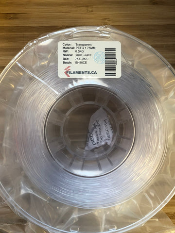 Transparent PETG 1.75MM 0.5KG Roll