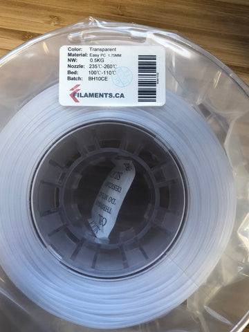 Transparent Easy PC 1.75MM 0.5KG Roll