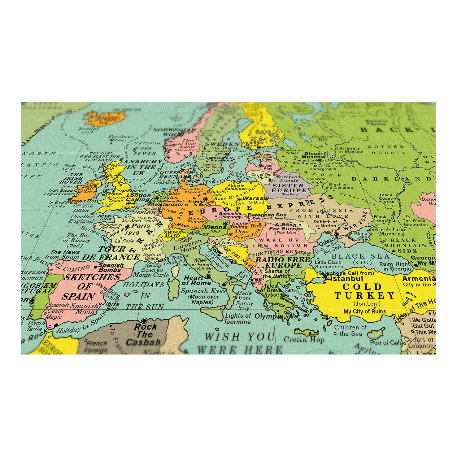 World Song Map Classic Print Baltic Shop