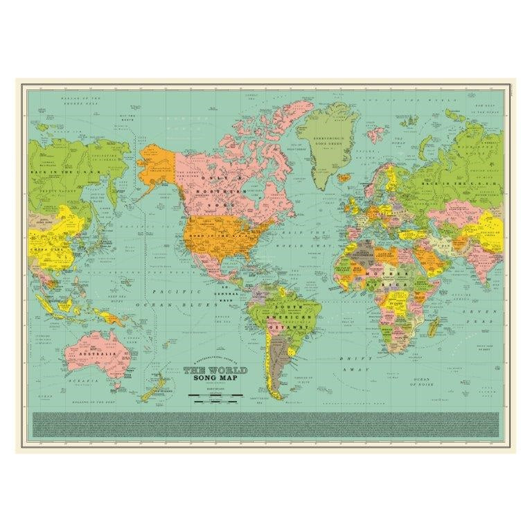 Whole Map Of The World.World Song Map Classic Print