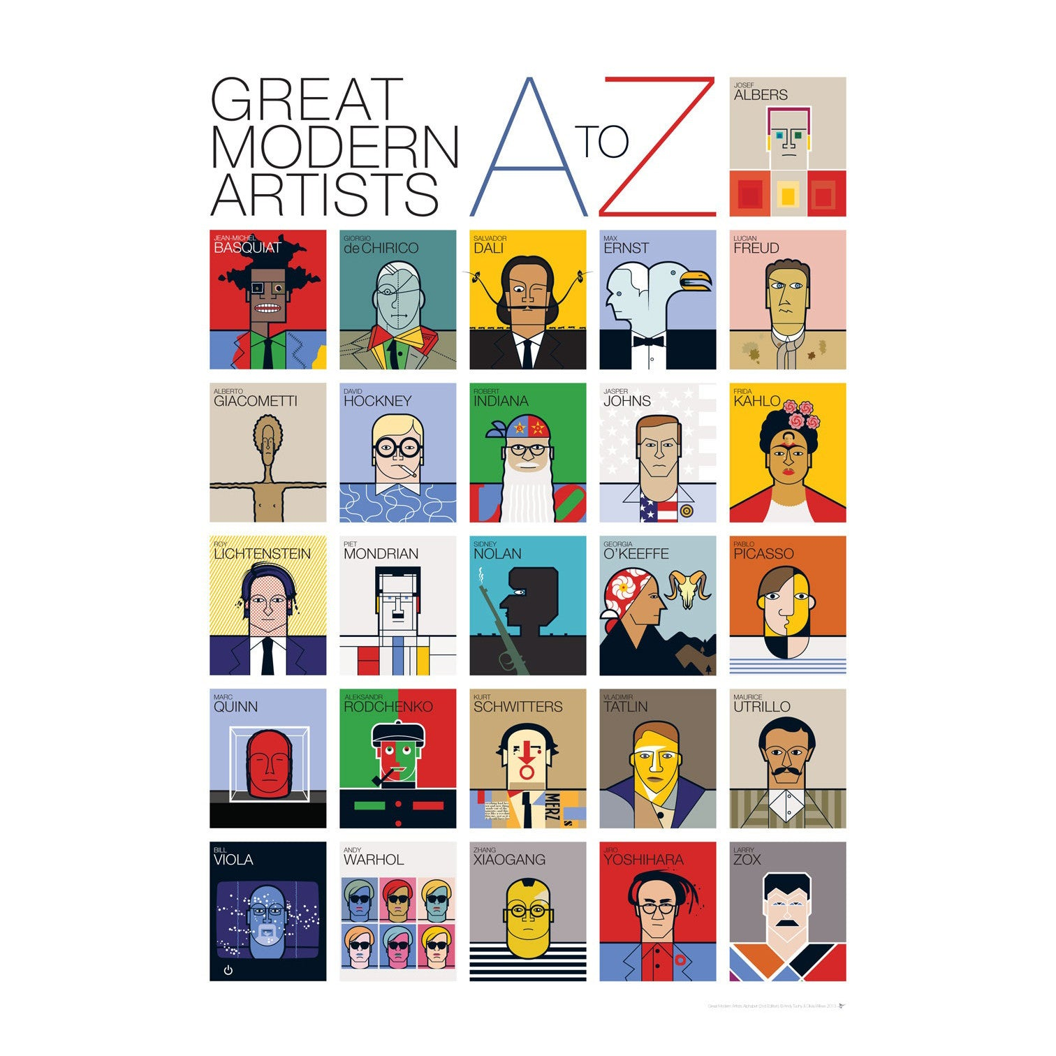 . Great Modern Artist A Z Poster   Andy Tuohy