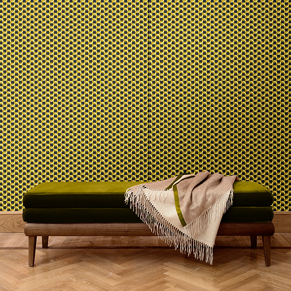 Geometric pattern wall covering. Silk. Made in italy